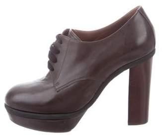 Marni Leather Platform Booties Brown Leather Platform Booties