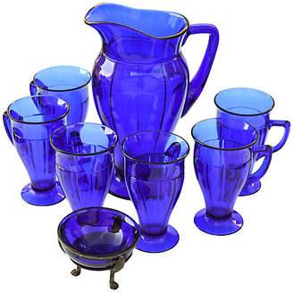 One Kings Lane Vintage Midcentury Blue Glass Set - 8 Pcs - The Moroccan Room