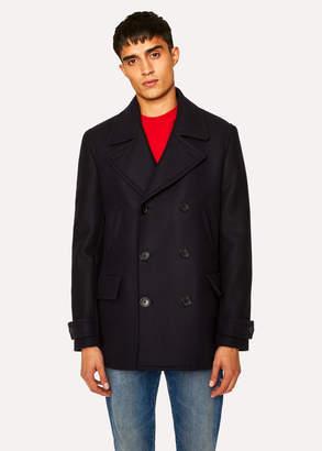 Paul Smith Men's Dark Navy Wool-Cashmere Pea Coat