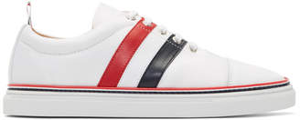 Thom Browne White Diagonal Stripe Straight Toe Cap Sneakers