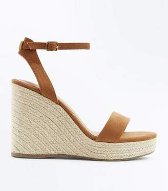 New Look Tan Suedette Ankle Strap Espadrille Wedges