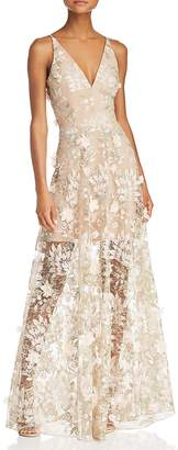 Dress the Population Sidney Floral Illusion Gown