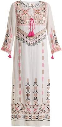 Figue Josefina geometric-embroidered silk dress