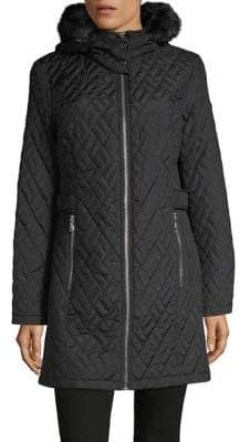 Calvin Klein Quilted Faux-Fir Trim Coat