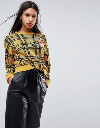 Asos DESIGN Sweater in Check with Badges