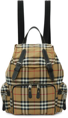 Burberry Yellow Medium Vintage Check Backpack