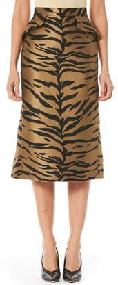 Carolina Herrera Tiger-Stripe Jacquard Midi Skirt