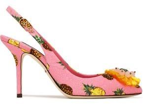Dolce & Gabbana Bellucci Embellished Printed Jacquard Slingback Pumps
