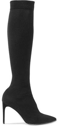 Rene Caovilla Crystal-embellished Jersey Over-the-knee Sock Boots - Black