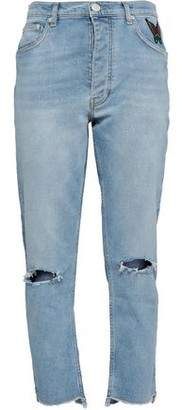 Maje Appliqued Distressed High-rise Straight-leg Jeans