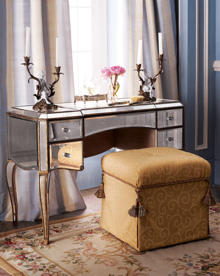 Mirrored Vanity & Stool