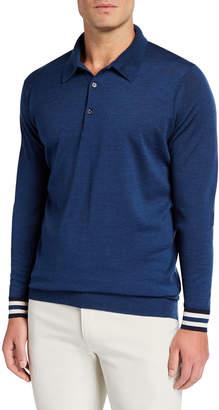 John Smedley Lou Dalton X Men's Striped-Cuffs Long-Sleeve Polo Shirt