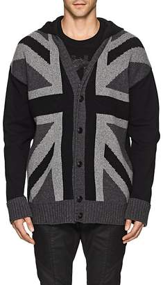 Pierre Balmain MEN'S UNION JACK WOOL-BLEND HOODED CARDIGAN