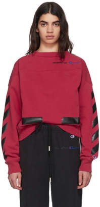 Off-White Red Champion Reverse Weave Edition Crewneck Sweatshirt