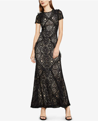 BCBGMAXAZRIA Short-Sleeve Lace Maxi Dress