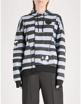 McQ Ergonomic striped cotton-jersey hoody