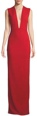 SOLACE London Ophelie Plunging Sleeveless Evening Gown