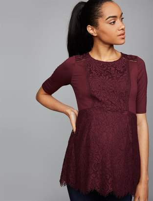 A Pea in the Pod Lace Peplum Maternity Top