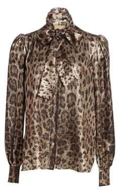 Dolce & Gabbana Tie-Neck Leopard Print Blouse