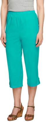 """Denim & Co. How Timeless"""" Petite Jean Capris with Tab Detail"""
