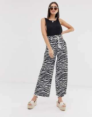 Asos Design DESIGN textured wide leg pants with paperbag waist and rope belt in zebra print