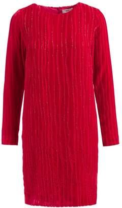 Wolf & Badger Mia Red Embellished Velvet Shift Dress