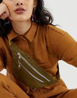 Monki zipped belt bag in khaki
