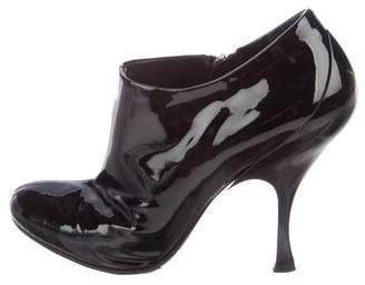 Miu Miu Patent Leather Round-Toe Booties