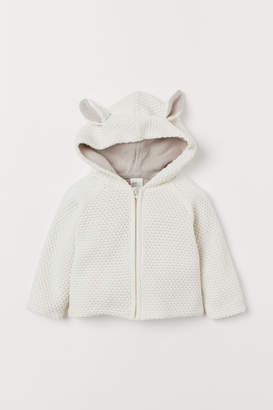 H&M Hooded Cotton Cardigan - White