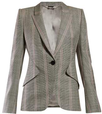 Alexander McQueen Prince Of Wales Checked Wool Blazer - Womens - Grey Multi