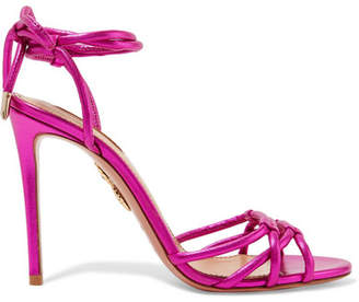 Aquazzura Laura Metallic Leather Sandals - Magenta