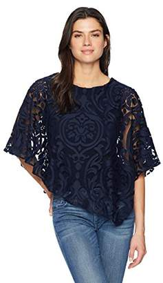 MSK Women's Overlay Burnout Cocktail Blouse with Lace Motif
