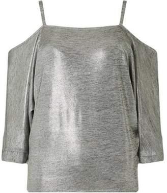 Dorothy Perkins Womens Silver 3/4 Cold Shoulder Top