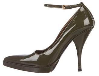Prada Ankle Strap Patent Leather Pumps