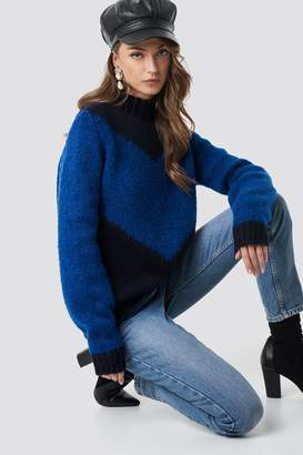 58c7131dbb Hannalicious X Na Kd High Neck V-blocked Knitted Sweater Blue