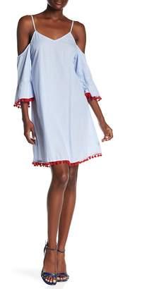 AMERICA & BEYOND Forget Me Not Pompom Cold Shoulder Dress