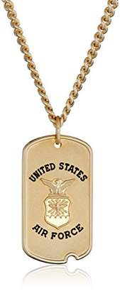 Men's 14k Gold-Filled United States Air Force Saint Michael Dogtag Medal with Gold Plated Stainless Steel Chain Pendant Necklace