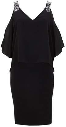 Wallis Black Chiffon Embellished Overlay Dress