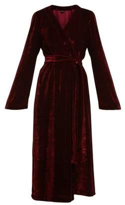 Once Milano - Bell Sleeved Velvet Robe - Womens - Red