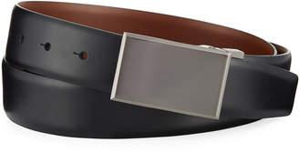 Original Penguin Reversible Leather Plaque-Buckle Belt