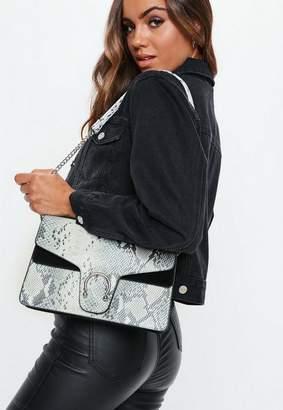 Missguided Grey Croc Detail Shoulder Bag, Grey