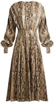 MSGM Snake-print faux-leather dress