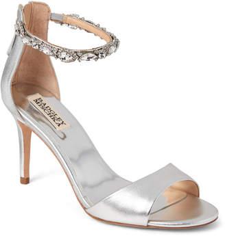 Badgley Mischka Silver Sindy Embellished Ankle Strap Sandals