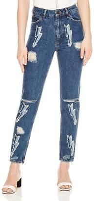 Sandro Rebecca Lightning Bolt Graphic Jeans