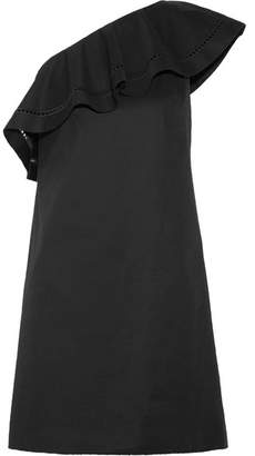 Rachel Zoe Kendall One-shoulder Embroidered Stretch-cotton Poplin Mini Dress - Black