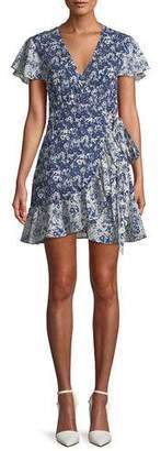 BA&SH Floral-Print Ruffle Wrap Dress
