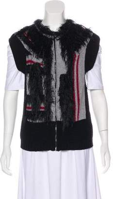 See by Chloe Fur-Accented Rib Knit Vest