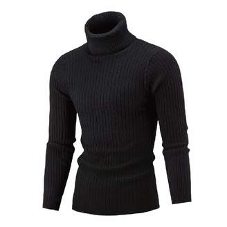 TaoNice-men clothes TaoNice Men's Turtleneck Outwear Marled Cable Pullover Knitted Keep Warm Sweaters S