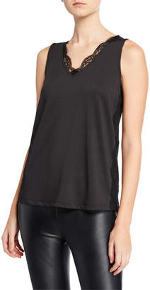 Neiman Marcus V-Neck Sleeveless Top with Lace Trim