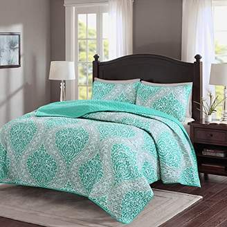 Comfort Spaces – Coco Mini Quilt Set - 3 Piece – Teal and Grey– Printed Damask Pattern – Full/Queen size